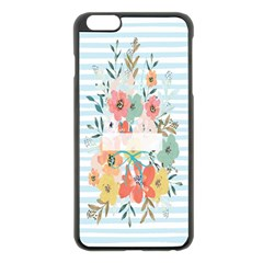 Watercolor Bouquet Floral White Apple Iphone 6 Plus/6s Plus Black Enamel Case