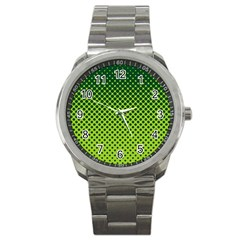 Halftone Circle Background Dot Sport Metal Watch by Nexatart