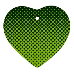 Halftone Circle Background Dot Heart Ornament (two Sides)