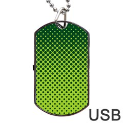 Halftone Circle Background Dot Dog Tag Usb Flash (one Side)