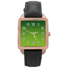 Halftone Circle Background Dot Rose Gold Leather Watch