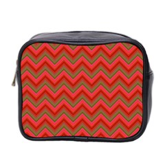 Background Retro Red Zigzag Mini Toiletries Bag 2 Side by Nexatart