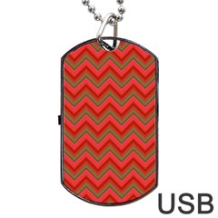 Background Retro Red Zigzag Dog Tag Usb Flash (two Sides) by Nexatart