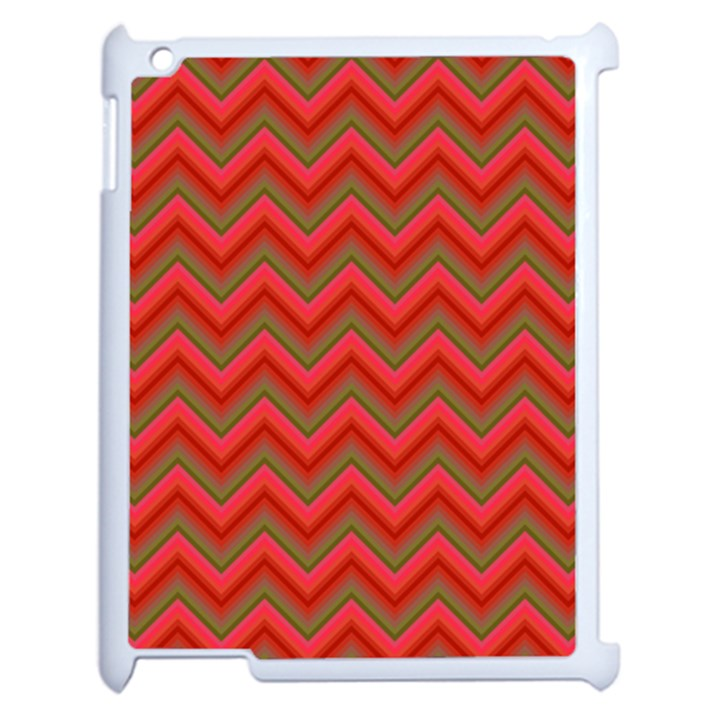 Background Retro Red Zigzag Apple iPad 2 Case (White)