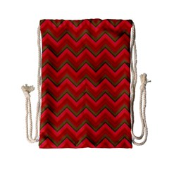 Background Retro Red Zigzag Drawstring Bag (small)