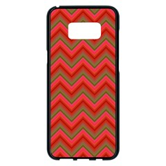 Background Retro Red Zigzag Samsung Galaxy S8 Plus Black Seamless Case by Nexatart