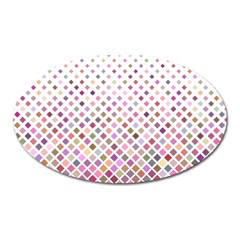 Pattern Square Background Diagonal Oval Magnet