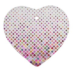 Pattern Square Background Diagonal Heart Ornament (two Sides)