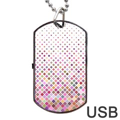 Pattern Square Background Diagonal Dog Tag Usb Flash (one Side) by Nexatart