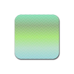 Green Line Zigzag Pattern Chevron Rubber Coaster (square)  by Nexatart