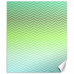 Green Line Zigzag Pattern Chevron Canvas 8  X 10  by Nexatart