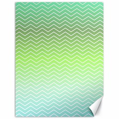 Green Line Zigzag Pattern Chevron Canvas 18  X 24