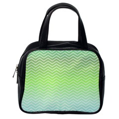 Green Line Zigzag Pattern Chevron Classic Handbags (one Side)