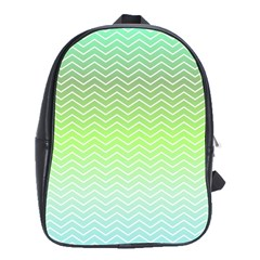 Green Line Zigzag Pattern Chevron School Bag (large) by Nexatart