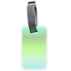 Green Line Zigzag Pattern Chevron Luggage Tags (two Sides) by Nexatart