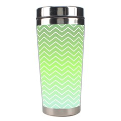 Green Line Zigzag Pattern Chevron Stainless Steel Travel Tumblers