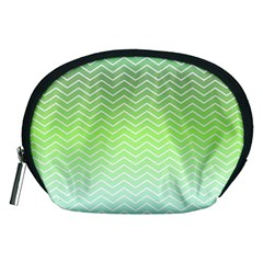 Green Line Zigzag Pattern Chevron Accessory Pouches (medium)