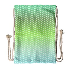 Green Line Zigzag Pattern Chevron Drawstring Bag (large)