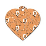 Lion Pattern Wallpaper Vector Dog Tag Heart (One Side) Front