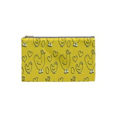 Chicken Chick Pattern Wallpaper Cosmetic Bag (small)  by Nexatart