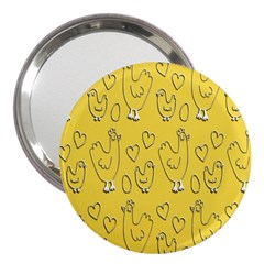 Chicken Chick Pattern Wallpaper 3  Handbag Mirrors by Nexatart