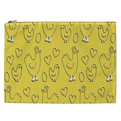 Chicken Chick Pattern Wallpaper Cosmetic Bag (xxl)