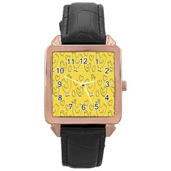 Chicken Chick Pattern Wallpaper Rose Gold Leather Watch