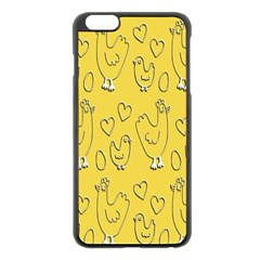 Chicken Chick Pattern Wallpaper Apple Iphone 6 Plus/6s Plus Black Enamel Case by Nexatart