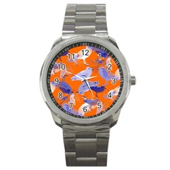 Seagull Gulls Coastal Bird Bird Sport Metal Watch by Nexatart