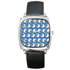 Sheep Pattern Wallpaper Vector Square Metal Watch by Nexatart