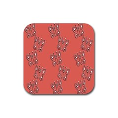 Butterfly Pink Pattern Wallpaper Rubber Coaster (square)