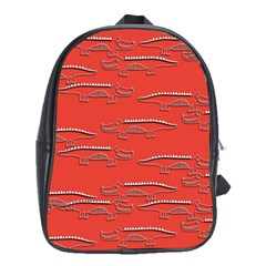 Crocodile Alligator Pattern School Bag (xl) by Nexatart