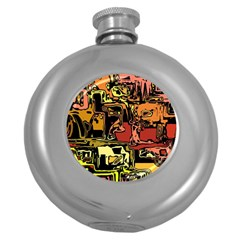 Modern Abstract 47c Round Hip Flask (5 Oz) by MoreColorsinLife
