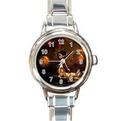 Steampunk, Cute Little Steampunk Girl In The Night With Clocks Round Italian Charm Watch by FantasyWorld7