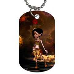 Steampunk, Cute Little Steampunk Girl In The Night With Clocks Dog Tag (two Sides) by FantasyWorld7