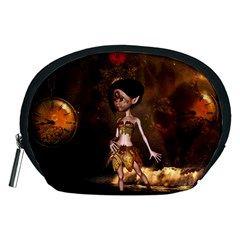 Steampunk, Cute Little Steampunk Girl In The Night With Clocks Accessory Pouches (medium)  by FantasyWorld7