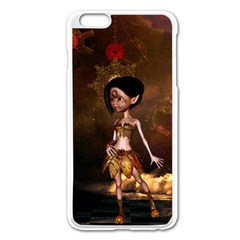 Steampunk, Cute Little Steampunk Girl In The Night With Clocks Apple Iphone 6 Plus/6s Plus Enamel White Case