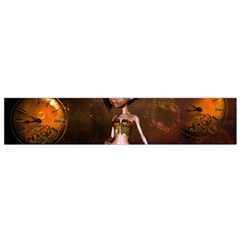 Steampunk, Cute Little Steampunk Girl In The Night With Clocks Flano Scarf (small) by FantasyWorld7