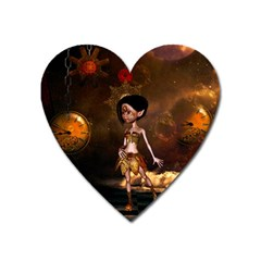 Steampunk, Cute Little Steampunk Girl In The Night With Clocks Heart Magnet by FantasyWorld7