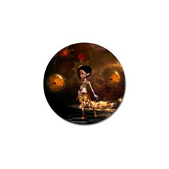 Steampunk, Cute Little Steampunk Girl In The Night With Clocks Golf Ball Marker (10 Pack) by FantasyWorld7