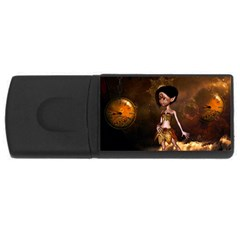 Steampunk, Cute Little Steampunk Girl In The Night With Clocks Rectangular Usb Flash Drive by FantasyWorld7