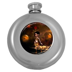 Steampunk, Cute Little Steampunk Girl In The Night With Clocks Round Hip Flask (5 Oz) by FantasyWorld7