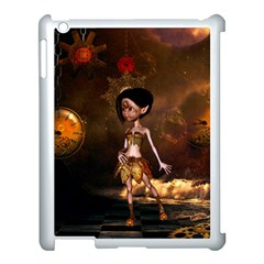 Steampunk, Cute Little Steampunk Girl In The Night With Clocks Apple Ipad 3/4 Case (white) by FantasyWorld7
