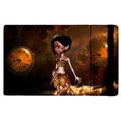 Steampunk, Cute Little Steampunk Girl In The Night With Clocks Apple Ipad Pro 12 9   Flip Case by FantasyWorld7