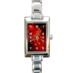 Cherry Blossom, Red Colors Rectangle Italian Charm Watch by FantasyWorld7