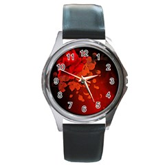 Cherry Blossom, Red Colors Round Metal Watch by FantasyWorld7