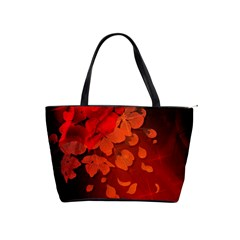 Cherry Blossom, Red Colors Shoulder Handbags by FantasyWorld7