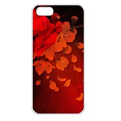 Cherry Blossom, Red Colors Apple Iphone 5 Seamless Case (white) by FantasyWorld7