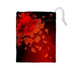 Cherry Blossom, Red Colors Drawstring Pouches (large)  by FantasyWorld7