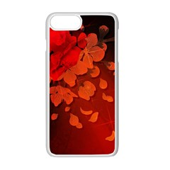 Cherry Blossom, Red Colors Apple Iphone 7 Plus White Seamless Case by FantasyWorld7